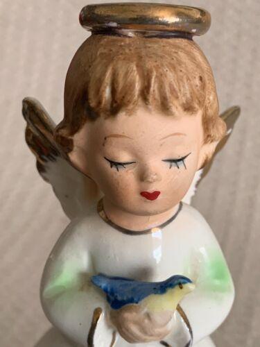 """5""""T Angel Figurine w/ Halo - Wings & Blue Bird in Hand Japan (ESTATE SALE ITEM)"""