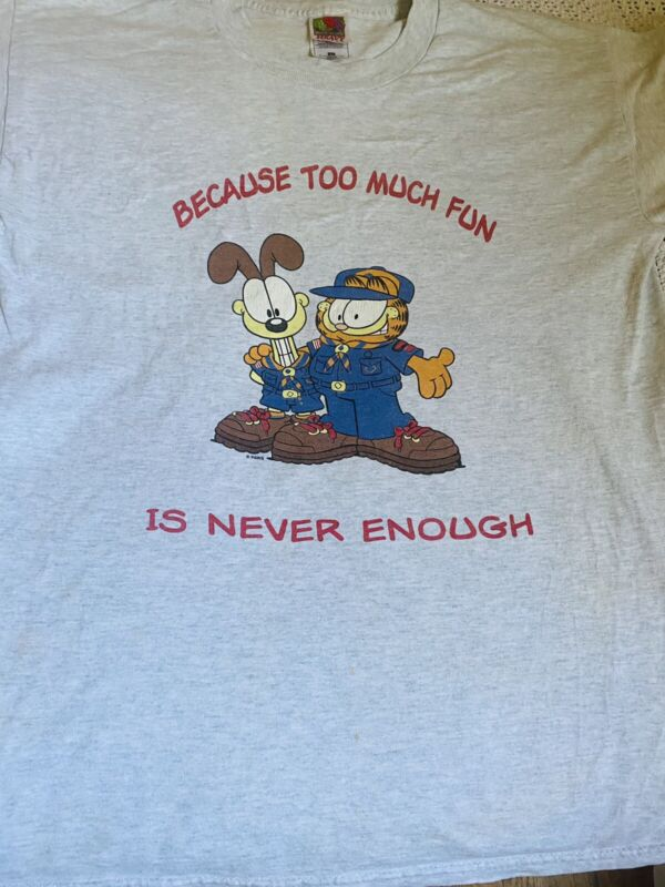Vintage Garfield Because Too Much Fun Is Never Enough Center T Shirt Size Large