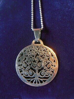 Stainless Steel Tree Of Life Pendant   Chain Yoga Wisdom Wicca Spiritual Symbol