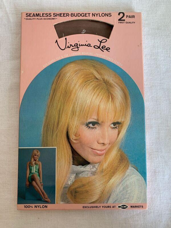 Pair 1960's VIRGINIA LEE SHEER NYLON STOCKINGS ~size 10~In Box~RETRO~ACME MARKET