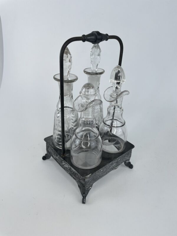 Antique Victorian Silver Plated Cruet Condiment Set Footed Caddy Peacock Leaves