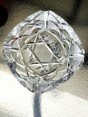 GENUINE ANTIQUE 1970 HAND CUT LEAD CRYSTAL  CANDLE HOLDER/ASHTRAY