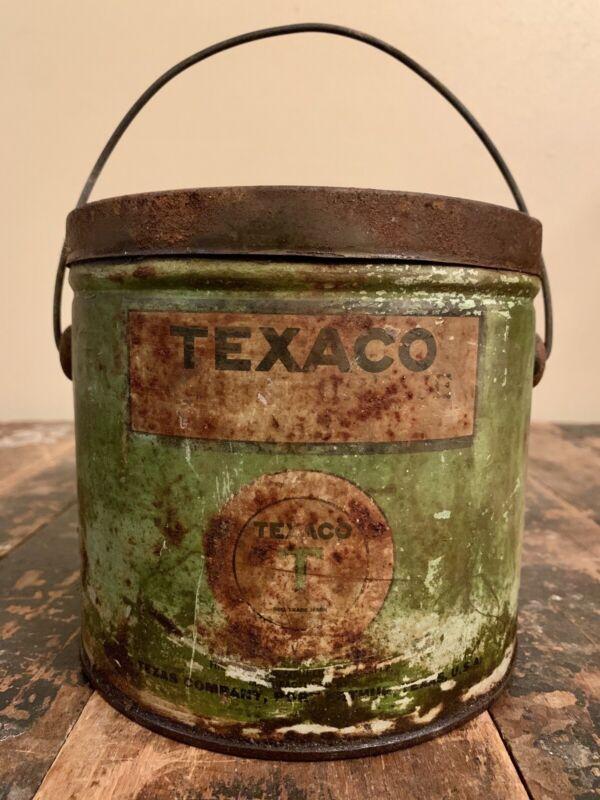 Early Green Texaco 5lb. Metal Grease Can