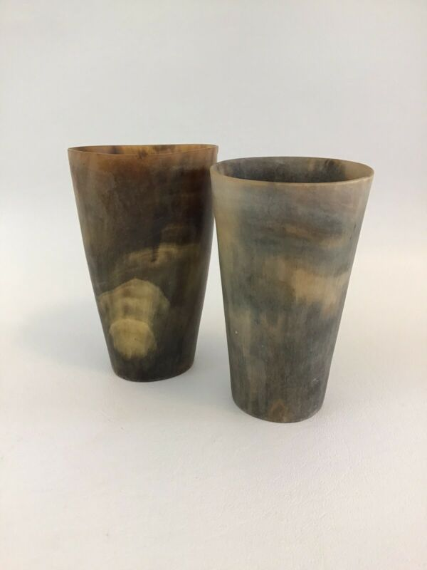 "Antique Horn Drinking Cups Lot of 2 Old West 4 1/2"" Whiskey"