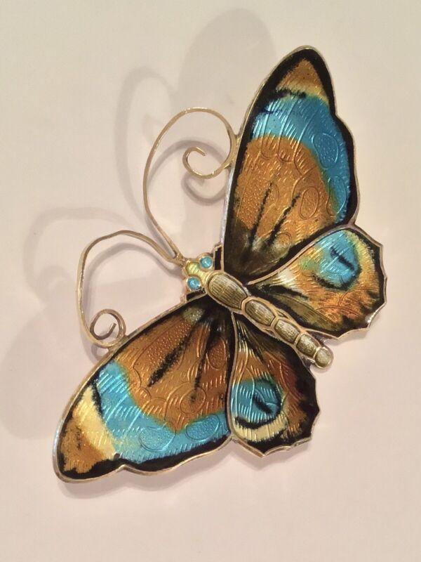 David Andersen Norway 925 Sterling Silver Blue Enamel Large Butterfly Brooch