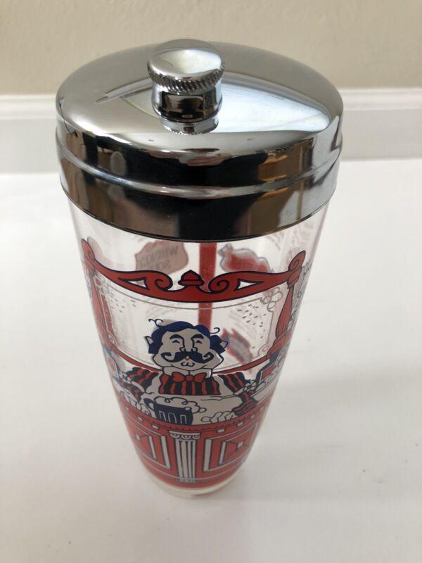 Vintage Bartender Cocktail Shaker Mixer Glass Barkeep Red White Blue Mid Century