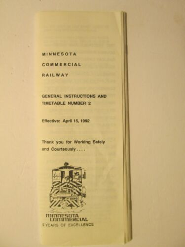 Minnesota Commercial Railway Time Table No. 2 Apr. 15, 1992