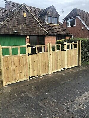Tanalised Wooden Bi-folding Driveway Gates 10ft wide X 4ft high In Cottage Style