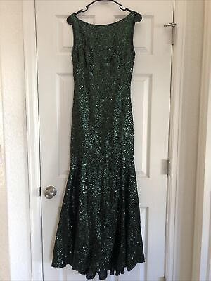 THEIA Dark Green Sequin Boat Neck Formal Bridesmaid Dress Gown Size 8