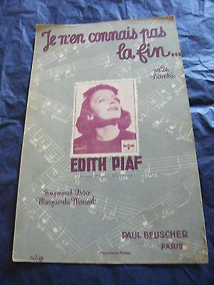 Partition Je n'en connais pas la fin Edith Piaf 1939 Music