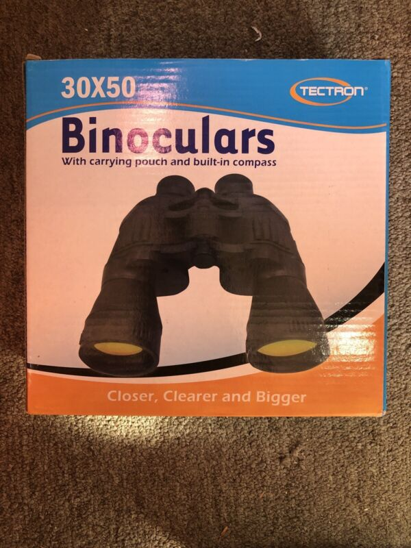 TECTRON 30 X 50 BINOCULARS WITH BUILT IN COMPASS AND POUCH NIB Set Of 2