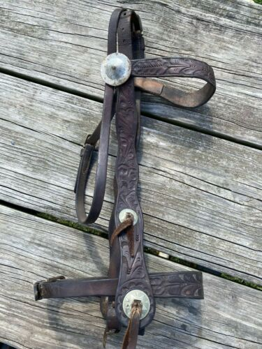 Vintage / antique tooled leather Western cowboy headstall w/nose band & conchos