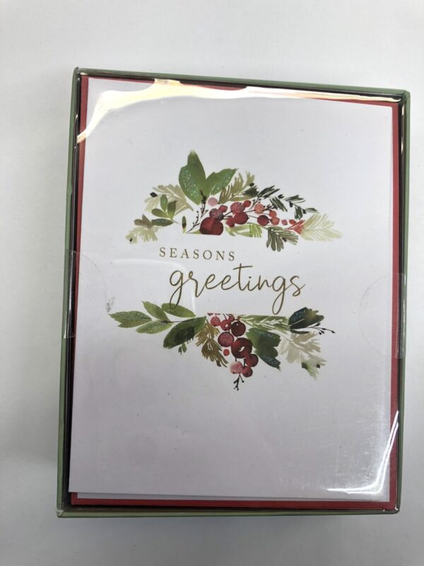 New! Graphique 15 ct boxed Small Xmas Holidays Cards Christmas Wreath Design