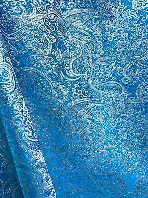 Turquoise Brocade (TURQUOISE BLUE SILVER METALLIC PAISLEY BROCADE FABRIC (60 in.) Sold By The Yard )