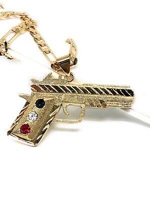 Gold Plate 45 Cal Pistol Pendant Necklace Pistola 45 Calibre Oro Laminado Cadena - Gold Plate