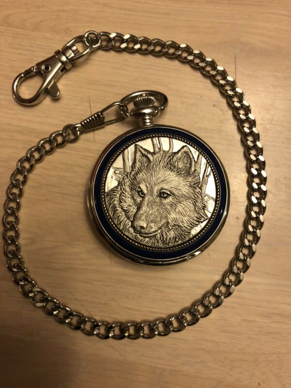 "Franklin Mint Pocket Watch ""The Timber Wolf"" w/ Black Belt Case & Chain"