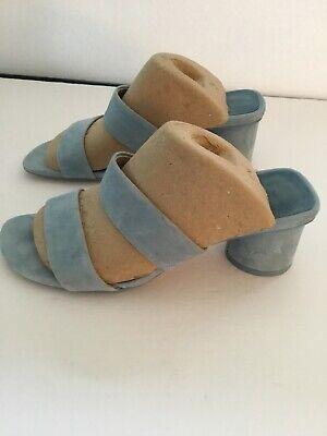 ZARA Women's Suede Sandal Pale Blue Size 7.5 EU 38