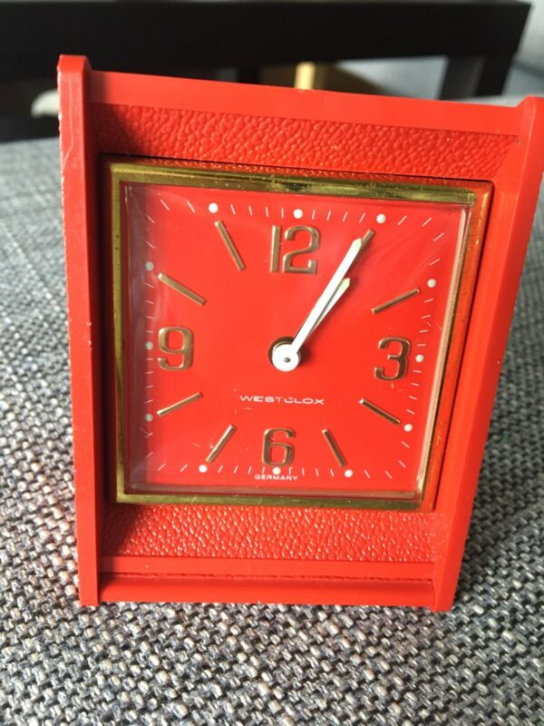 Vintage Westclox Luminous Travel Alarm Clock Germany Red With Gold Tone Numbers