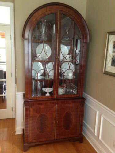 PAIR very fine BAKER CO china cabinets HISTORIC CHARLESTON COLLECTION mahogany
