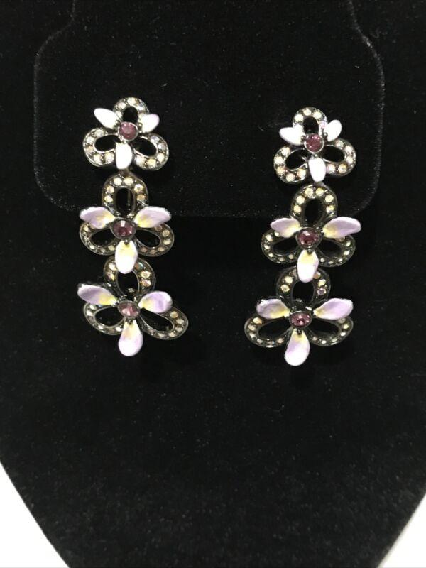 Vintage Signed Joan Rivers Rhinestone Gold Tone Clip On Earrings