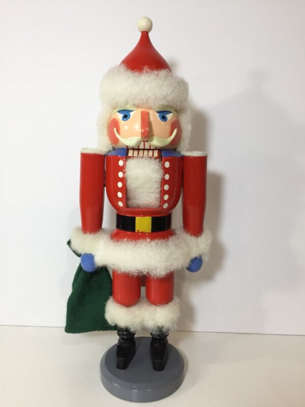 "Vintage Erzgebirge Volkskunst German Wood Nutcracker Santa Claus St Nick 14"""
