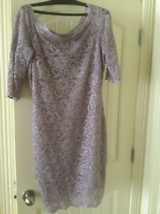 Soft lilac lady dress with lace overlay, $25.00