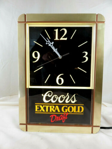 Vintage 1989 Coors Extra Gold Draft Wall Sign Clock Battery Operated 17x12""