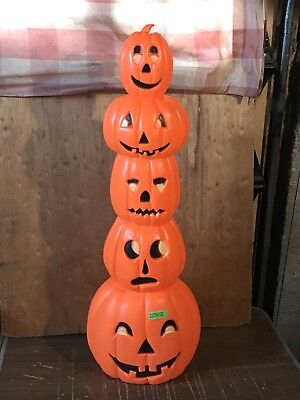 1994 UNION PRODUCTS DON FEATHERSTONE LIGHTED TOTEM POLE PUMPKIN BLOW MOLD
