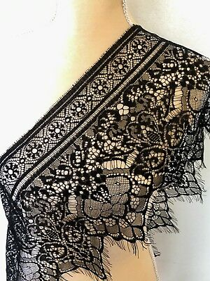3 Yards Black Floral Embroidered Eyelash Mesh Lace Trim/ Sewing/Crafts/ 10
