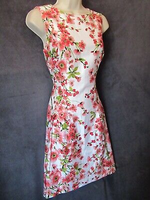 Ralph Lauren White Pink Red Floral Sleeveless Fit Flare Summer Party Dress 6