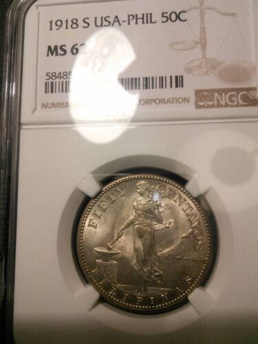 U.S. Philippines 1918-S 50 Centavos NGC MS 62