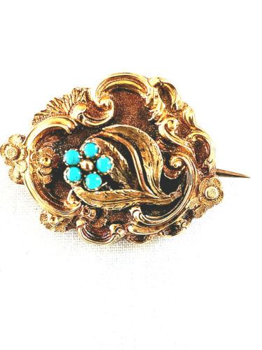 Antique Georgian 14K Love Brooch Pin w/Turquoise Flower & Woven Hair Under Glass