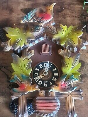Vintage Cuckoo Clock Marked West Germany Colourful Bird Design