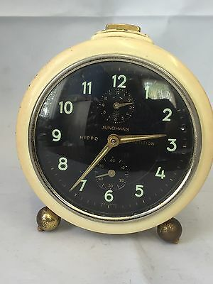 VINTAGE JUNGHANS REPETITION TRIPLE DIAL ALARAM CLOCK GERMAN WORKING