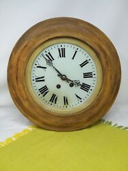 LARGE ANTIQUE FRENCH FARMHOUSE SCHOOL WALL CLOCK 8 DAY C1890 STRIKES HOUR & HALF