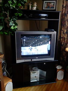 Black TV Entertainment Unit, with glass doors on bottom for sale