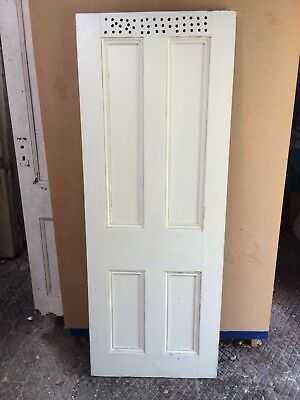 "Antique Reclaimed Pine Victorian 4 Panelled Door 27 1/2"" X 72 3/4"" X 1 1/2"""