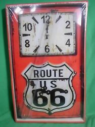 Route 66 Wall Clock Sign, Battery Op., Rustic Aged Look Decor Vintage New In Box