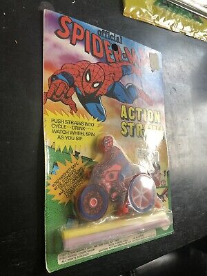 RARE OFFICIAL SPIDER-MAN ACTION STRAW 1977 AHI Marvel Comics Group Azrak Hamway