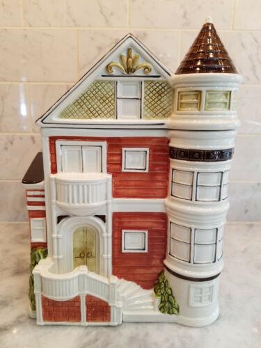 Vintage Otagiri Victorian House Canister Cookie Jar - 10.5inch - Japan