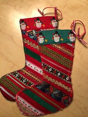 Pair Of 2 Hand Made Blanket Stitched Small Christmas Stockings Fleece Backed  - Small Christmas Stockings