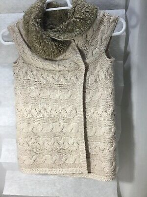 ZARA WOMAN Wool Blend Sleeveless Jacket Coat fur collar  Size Small Color Tan, used for sale  Orlando