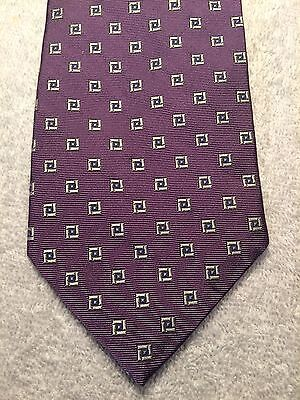 (LANDS END MENS TIE 3.5 X 59 PURPLE WITH SILVER SQUARES WITH BLUE NWOT)
