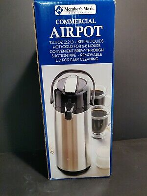 Members Mark Stainless Steel Commercial Airpot 74.4 Oz. 2.2 L Hot Or Cold 68hr