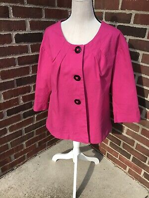 APOSTROPHE Womens Size 16W Jacket 3/4 Sleeve big Black Buttons Lined Hot Pink