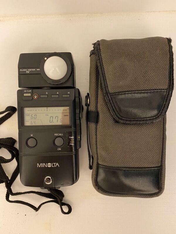 Minolta Auto Meter IV Flash Light Meter w/case and Spot Meter Filter.