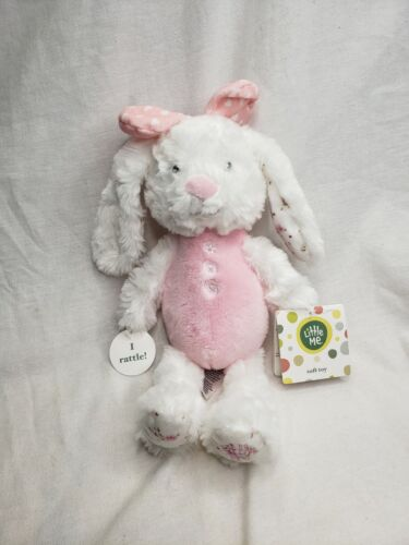 Little Me Push Pink White Rabbit Rattle Stuffed Bunny Toy Bow - $20.00