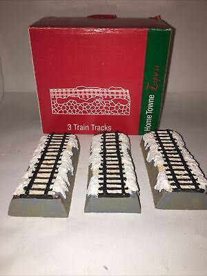 Home Towne Express 3 Piece Set Straight Track Christmas Train JC Penney Vtg