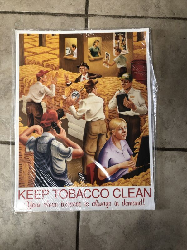 """Vintage """"KEEP TOBACCO CLEAN"""" Tobacco Auction Poster 16""""X12"""""""