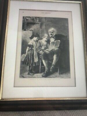 Framed picture from The Graphic dated Oct 11 1873 The village Schoolmaster